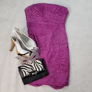 PROM GIRL strapless purple mini rooched back 4